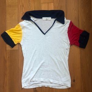 White color block collared crop top